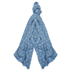 Barbour Dog Print Wrap Women's Scarf - Blue/pink