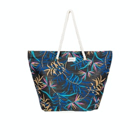 Roxy Sunseeker Womens Beach Bag - Anthracite Wild Leaves