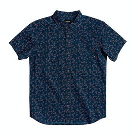 Quiksilver Anchors Away Youth Boys Short Sleeve Shirt - Majolica Anchor Awa Small