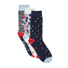 Joules Brill Bamboo 3 Pack Dame Fashion strømper - Navy Love Hearts