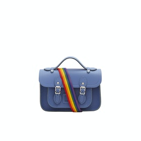 The Cambridge Satchel Company Mini Women's Satchel - Italian Blue With Rainbow Webbing Strap