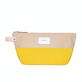 Sandqvist Cleo Waschbeutel - Multi Yellow Beige With Natural Leather