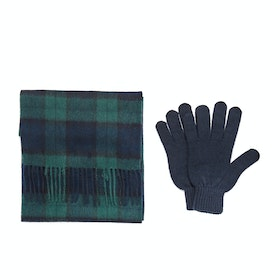 Barbour Gift Box Scarf And Gloves - Black Watch Tartan