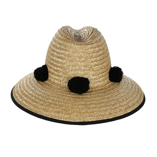 Helene Berman Straw Fedorawith Poms Women's Hat