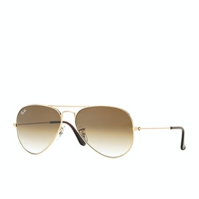 Ray-Ban Aviator Large Herren Sonnenbrille - Gold ~ Crystal Brown Gradient