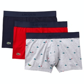 Shorts boxer Lacoste Valentines Day 3 Pack Trunk - Navy Blue Jasi Silver Chine
