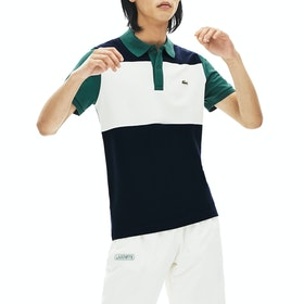Lacoste Ribbed Collar , Poloskjorte - Navy Blue Flour Pine