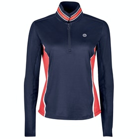 Dublin Alexis Long Sleeve Team Technical 1/4 Zip Dames Poloshirt - Navy