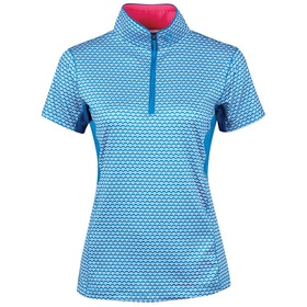 Dublin Kylee Printed Short Sleeve Dames Top - Blue Dove