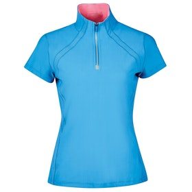Dublin Maddison Short Sleeve Technical Airflow 1/2 Zip Dames Top - Blue Dove