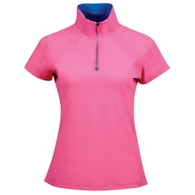 Dublin Maddison Short Sleeve Technical Airflow 1/2 Zip Dames Top - Carmine Rose