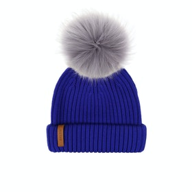 BKLYN Merino Faux Fur Pom Damen Beanie - Electric Blue
