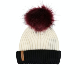 BKLYN Merino Faux Fur Pom Damen Beanie - White Black
