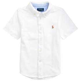 Polo Ralph Lauren Knit Oxford Junior Boy's Short Sleeve Shirt - White