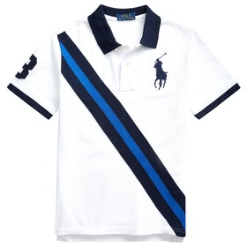 Polo Ralph Lauren Big Pony Cotton Mesh Junior Boy's Polo Shirt - White