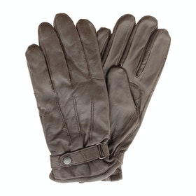 Barbour Burnished Leather Insulated Men's Gloves - Dark Brown