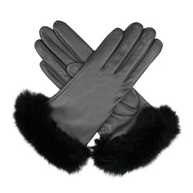 Dents Glamis Silk Lined Leatherwith Fur Cuffs Damen Handschuhe - Black