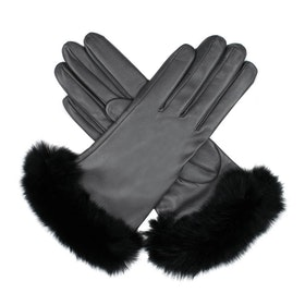 Dents Glamis Silk Lined Leatherwith Fur Cuffs Women's Gloves - Black
