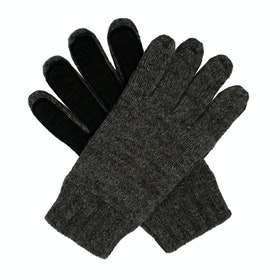 Dents Stirling Lambswool Knittedwith Leather Palm Patch Herren Handschuhe - Charcoal