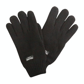 Dents Durham Thinsulate Lined Knitted Herren Handschuhe - Black