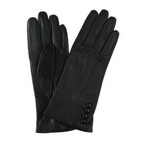 Dents Silk Lined Leather Touchscreen Technology Damen Handschuhe - Black