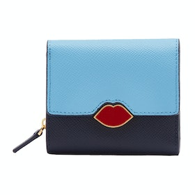 Lulu Guinness Leather Saffie Womens ウォレット - Sky Navy