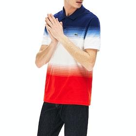 Lacoste Striped Pique Ribbed Collar Polo Shirt - Corrida White Methylene