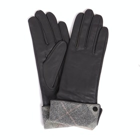 Barbour Lady Jane Leather Women's Gloves - Pink Grey Tartan