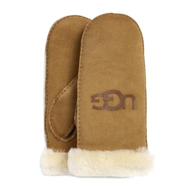 UGG Sheepskin Logo Mitten Gloves - Chestnut