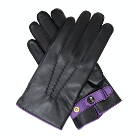 Dents Contrast Piping Gloves - Black Amethyst