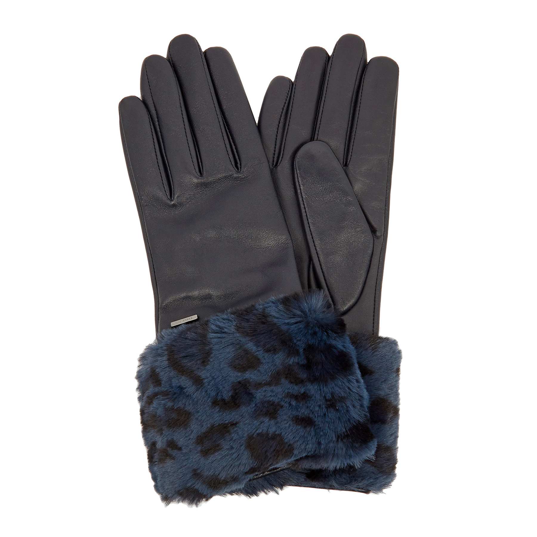 Dents Mens Stirling Leather Palm Lambswool Knitted Gloves Charcoal