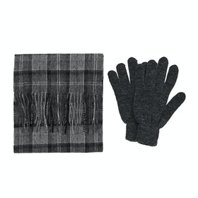 Barbour Gift Box Scarf And Gloves - Black Grey Tartan