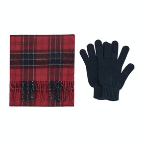 Barbour Gift Box Scarf And Gloves - Red Tartan