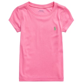 Polo Ralph Lauren Crew Neck Knit Girl's Short Sleeve T-Shirt - Baja Pink Cycle Green Multi
