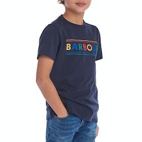 Barbour Multi Logo Boy's Short Sleeve T-Shirt - Navy