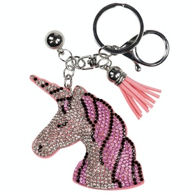 Horze Unicorn Head Keyring - Pink Silver