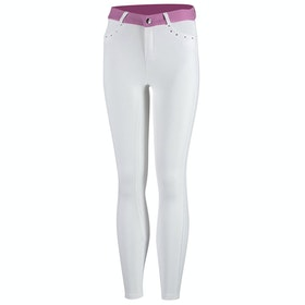 Horze Lilian Full Seat Childrens Riding Breeches - White Purple