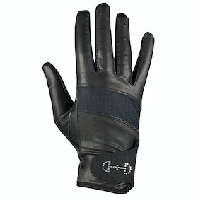 Everyday Riding Glove Femme Horze Leather Mesh - Black