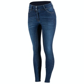 Horze Kaia High Waist Silicone Full Seat Ladies Riding Breeches - Denim