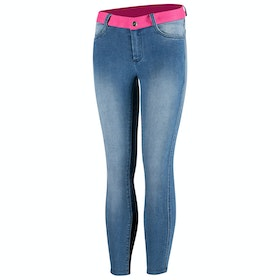 Riding Breeches Enfant Horze Poppy Silicone Full Seat - Denim