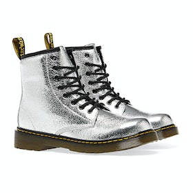 Dr Martens 1460 Crinkle Metallic Kid's Boots - Silver
