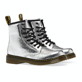 Dr Martens 1460 Crinkle Metallic Kinder Stiefel - Silver