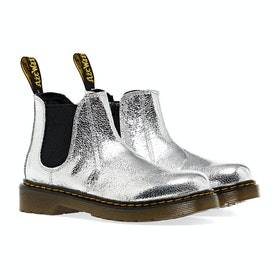 Dr Martens 2976 Kid's Boots - Silver Crinkle Metallic