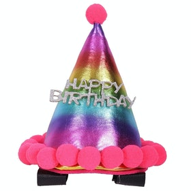 QHP Birthday Hat Horse Bridle Accessory - Rainbow