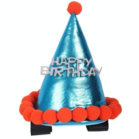 QHP Birthday Hat Horse Bridle Accessory - Sky