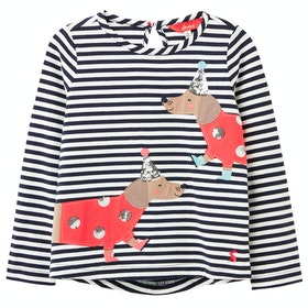 Joules Ava Girls Long Sleeve T-Shirt - Navy Stripe Dog
