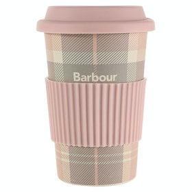 Barbour Tartan Travel Ladies Flask - Pink Grey Tartan