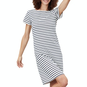 Joules Riviera Long Dress - Cream Navy Stripe