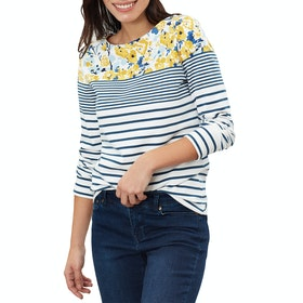Joules Harbour Print Women's Long Sleeve T-Shirt - Cream Blue Floral Border