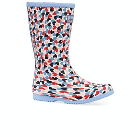 Joules Jnr Roll Up Girls Wellies - White Hearts